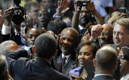 President Barack Obama greets people after speaking at the National Urban League convention at the Ernest N. Morial Convention Center in New Orleans, Wednesday, July 25, 2012.