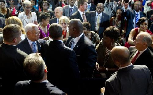 US President Barack Obama (3L-front) greets members of the crowd after speaking during the National Urban League convention at the Ernest N. Morial Convention Center in New Orleans, Louisiana, July 25, 2012.