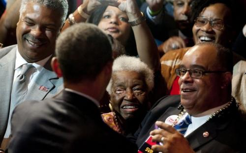 US President Barack Obama greets members of the crowd after speaking during the National Urban League convention at the Ernest N. Morial Convention Center in New Orleans, Louisiana, July 25, 2012.